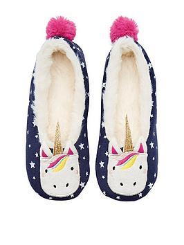 joules-girls-unicorn-slipper-navy