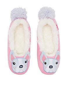 joules-girls-bulldog-slippers-pink