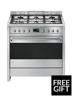 Smeg A1-9 90cm Wide Opera Stainless Steel Single Cavity Dual Fuel Range Cooker