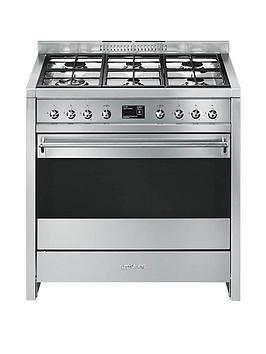 smeg-a1-9-90cmnbspwide-opera-stainless-steel-single-cavity-dual-fuel-range-cooker