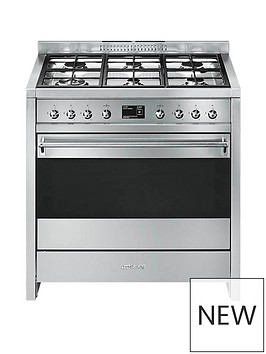 smeg-a1-9-90cmnbspwide-opera-stainless-steel-single-cavity-dual-fuel-range-cooker