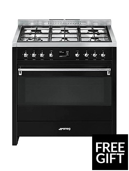 smeg-a1bl-9-90cmnbspwide-opera-gloss-black-single-cavity-dual-fuel-range-cooker
