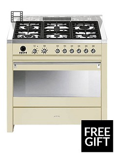 smeg-a1p-9-90cm-opera-gloss-cream-single-cavity-dual-fuel-range-cooker