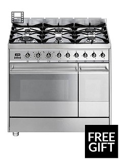 Smeg SY92PX8 90cm Wide Symphony Stainless Steel Dual Cavity Pyrolytic Dual Fuel Range Cooker