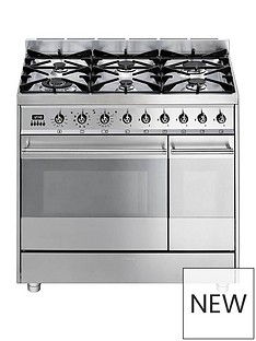 smeg-sy92px8-90cmnbspwidenbspsymphony-stainless-steel-dual-cavity-pyrolytic-dual-fuel-range-cooker