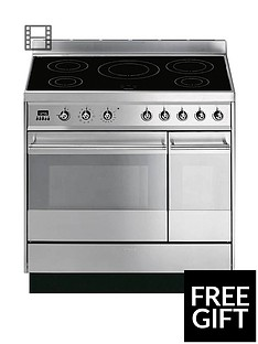 Smeg SY92IPX8 90cm Symphony Stainless Steel Dual Cavity Pyrolytic Induction Range Cooker