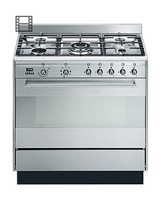 Smeg SUK91MFX9 90cm Wide Concert Stainless Steel Single Cavity Dual Fuel Range Cooker