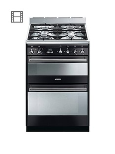 Smeg SUK62MX8 60cm Wide Concert Dual Cavity Dual Fuel Cooker - Gloss Black