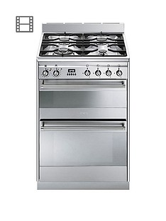 Smeg SUK62MX8 60cm Wide Concert Dual Cavity Dual Fuel Cooker - Stainless Steel