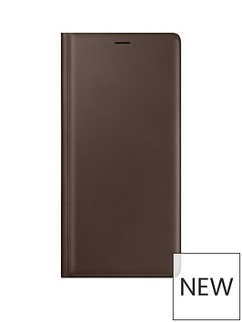 samsung-galaxy-note-9-leather-wallet-clear-view-standing-cover-brown