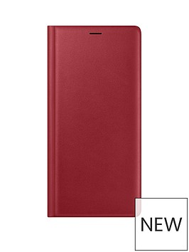 samsung-galaxy-note-9-leather-wallet-clear-view-standing-cover-red