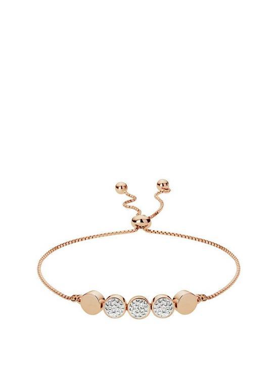 2a6d2cfda5e4 Evoke Evoke Rose Gold Plated Silver   Swarovski Crystal Toggle Bracelet