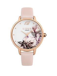 lipsy-lipsy-white-with-floral-print-and-rose-gold-detail-dial-pink-leather-strap-ladies-watch