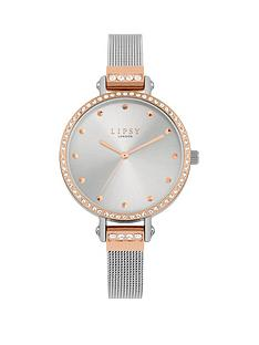 lipsy-silver-and-rose-gold-crystal-set-dial-stainless-steel-mesh-strap-ladies-watch