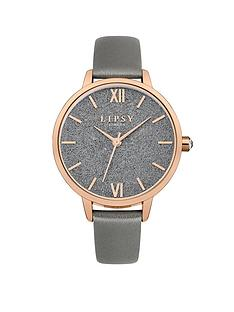 lipsy-grey-glitter-with-rose-gold-detail-dial-grey-pu-strap-ladies-watch