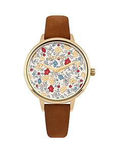 cath-kidston-eiderdown-ditsy-floral-print-gloss-image-dial-tan-suede-leather-strap-ladies-watch