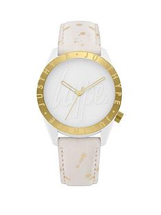 hype-white-logo-and-gold-dial-white-and-gold-print-pu-strap-watch