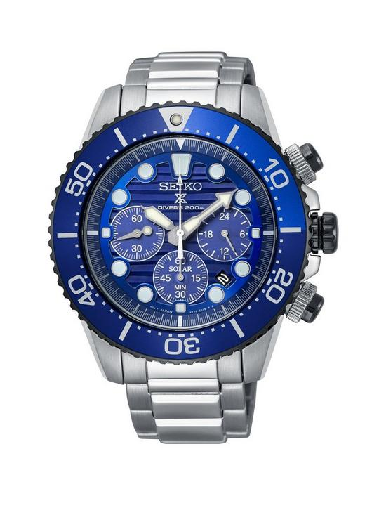 9edf4d2c0 Seiko Save The Ocean Solar Chronograph Dial Stainless Steel Divers Mens  Watch