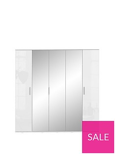 Westbury High Gloss 5 Door Mirrored Wardrobe