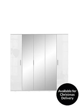 westbury-high-gloss-5-door-mirrored-wardrobe