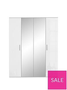 WestburyHigh Gloss 4 Door Mirrored Wardrobe