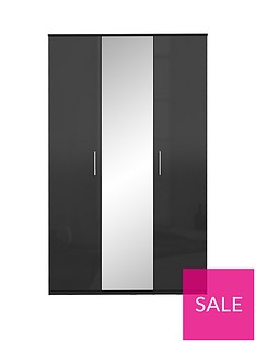 Westbury High Gloss 3 Door Mirrored Wardrobe
