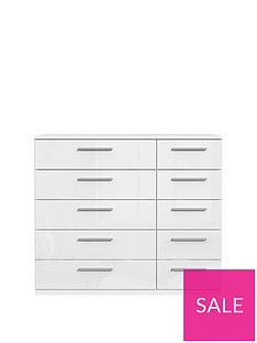 Westbury High Gloss Wide 5 + 5 Drawer Chest