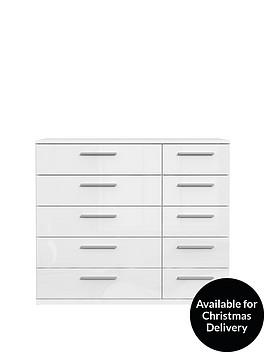 westburynbsphigh-gloss-wide-5-5-drawer-chest