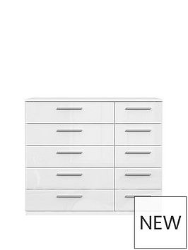 westburynbsphigh-gloss-wide-5-5-drawer-chest
