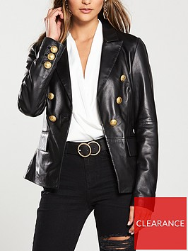 v-by-very-gold-button-detail-leather-blazer-black