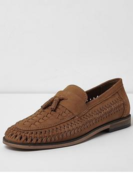 river-island-tan-leather-woven-tassel-loafers