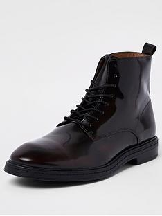 river-island-bruno-high-shine-burgundy-lace-up-boot