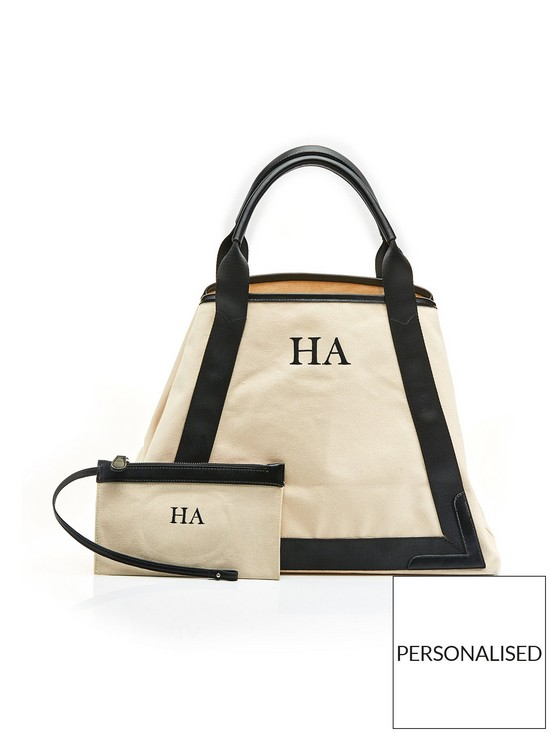 71d9e582cafd HA Designs Personalised Initial Black Slouch Canvas Bag