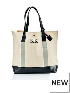 ha-designs-initial-stripe-canvas-bag-grey
