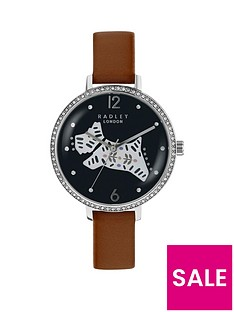 radley-radley-black-and-silver-dog-jewelled-dial-tan-leather-strap-ladies-watch