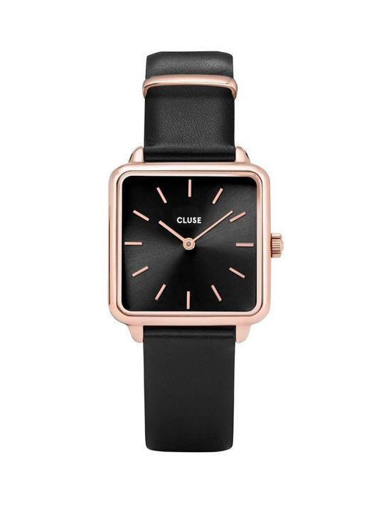 6f99dda4f4c0 CLUSE La Garconne Black and Rose Gold Square Dial Black Leather Strap  Ladies Watch