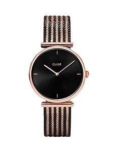 cluse-cluse-triomphe-black-and-rose-gold-dial-two-tone-mesh-stainless-steel-strap-ladies-watch