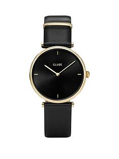 cluse-cluse-triomphe-black-and-gold-dial-black-leather-strap-ladies-watch