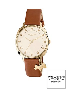 radley-radley-cream-and-gold-dog-charm-dial-brown-leather-strap-ladies-watch