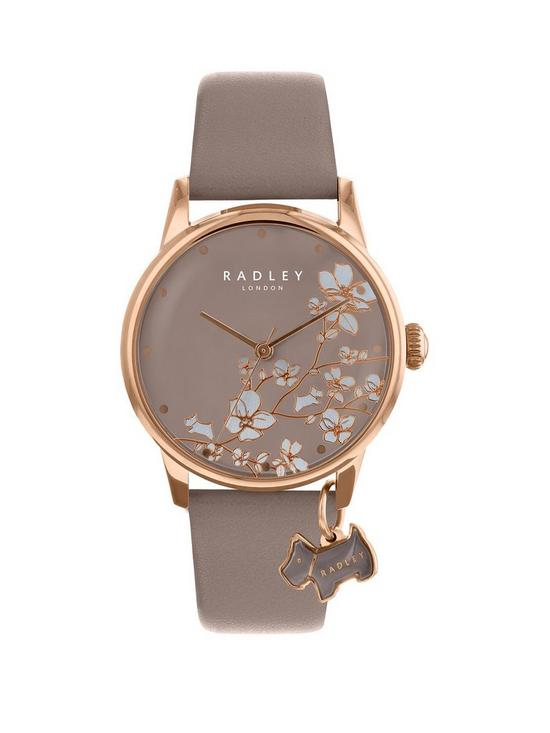 938403d42138 Radley Radley Taupe Floral and Rose Gold Dog Charm Dial Taupe Leather Strap Ladies  Watch