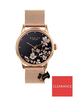 radley-radley-black-floral-and-rose-gold-dog-charm-dial-rose-gold-mesh-stainless-steel-strap-ladies-watch