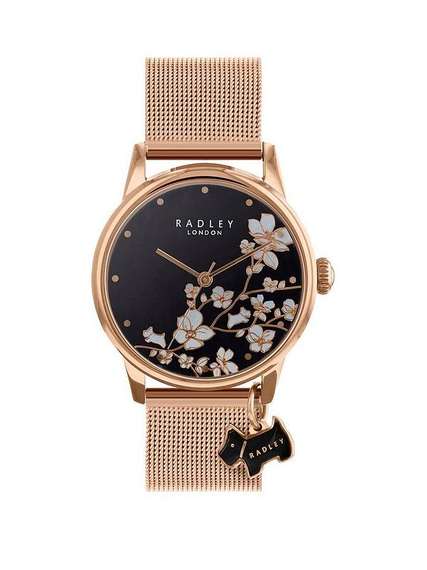 f91759fad48 Radley Radley Black Floral and Rose Gold Dog Charm Dial Rose Gold Mesh  Stainless Steel Strap Ladies Watch