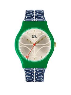orla-kiely-orla-kiely-bobby-champagne-and-green-dial-blue-stem-print-silicone-strap-ladies-watch