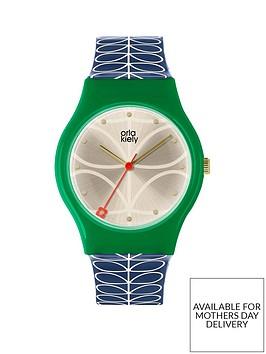 orla-kiely-orla-kiely-bobby-champagne-and-green-dial-blue-stem-print-silicone-strap-ladies-watch
