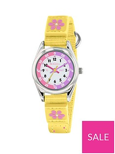 tikkers-tikkers-white-and-pink-time-teller-dial-yellow-fabric-velcro-strap-kids-watch