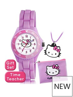 hello-kitty-hello-kitty-printed-time-teller-dial-pink-silicone-strap-kids-watch-with-purse-and-necklace-gift-set