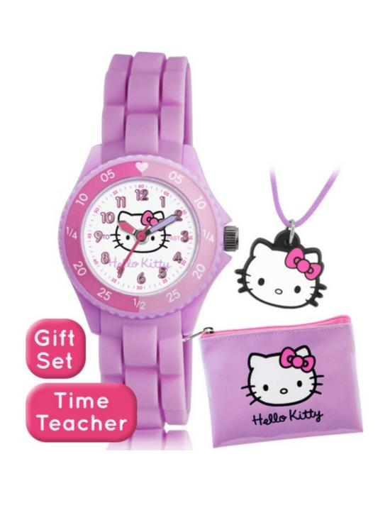 1741de51613a Hello Kitty Hello Kitty Printed Time Teller Dial Pink Silicone Strap Kids  Watch with Purse and Necklace Gift Set