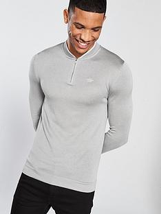river-island-muscle-fit-zip-baseball-top-grey