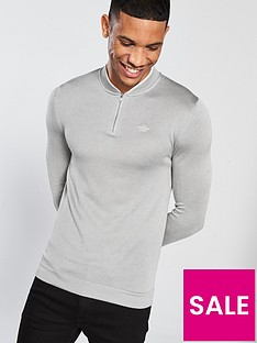 river-island-muscle-fit-zip-baseball-top-grey