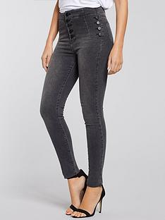 michelle-keegan-button-detail-high-waist-jean-grey